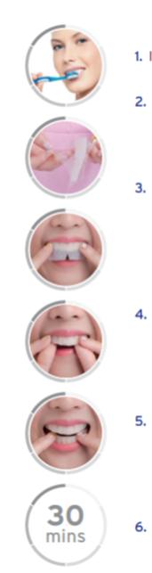 Hampaiden valkaisuliuskojen käyttöohje kuvina