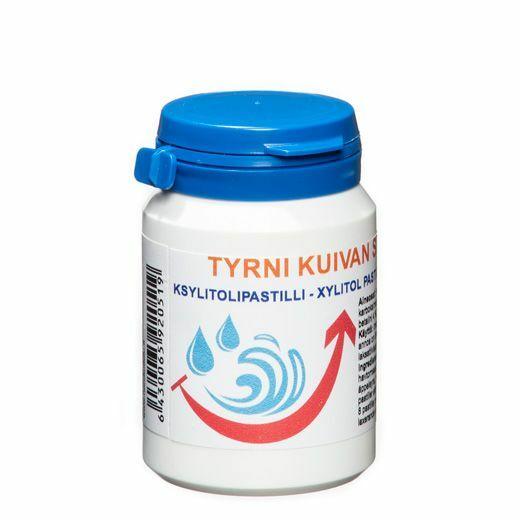 Kuivan suun oireiden helpottamiseen voi käyttää betaiini ksylitolipastilleja.